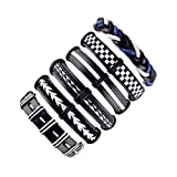 Adjustable Knot Buckle Handmade Knitting Leather Bracelet Set for Men Boy Kids(6 Pieces)