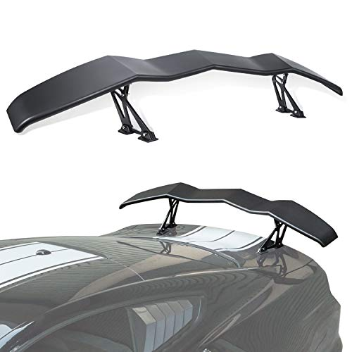 E-cowlboy Rear Spoiler Wing Universal for Ford Mustang Chevy Camaro Dodge Challenger Rear Trunk Tail Lid Wing in GT Lambo Style Matte Black