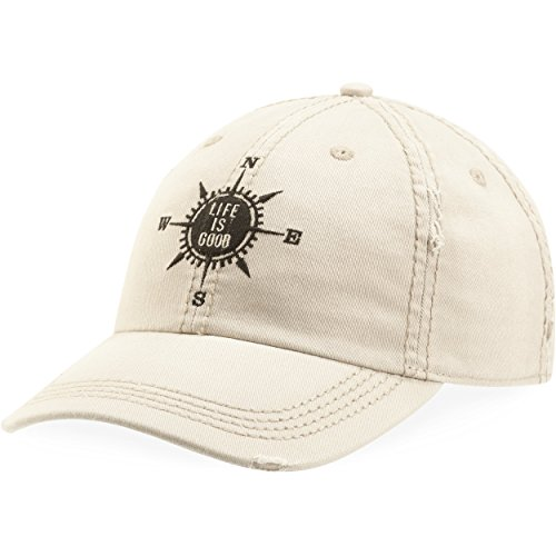 Life is good Sun Washed Chill Cap Lig Compass Hat, Bone, One Size