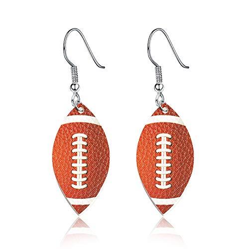Hoop Rugby - BAUNA Leaf Leather Earrings Rugby Leather Earrings Dangle Hoop Player Fan Gift (Rugby Leather Earrings)