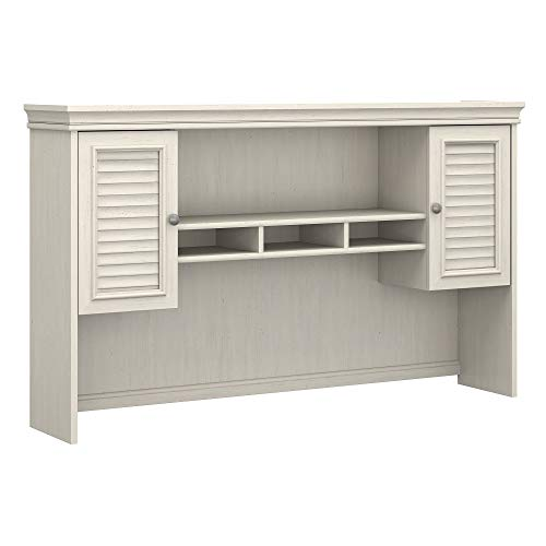 Cottage Modular Office (Bush Furniture Fairview Hutch for L Shaped Desk in Antique White)