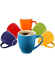 Klikel 6 Colored Coffee Mugs 16oz Flat Bottom Porcelain Dinnerware, Assorted Colors