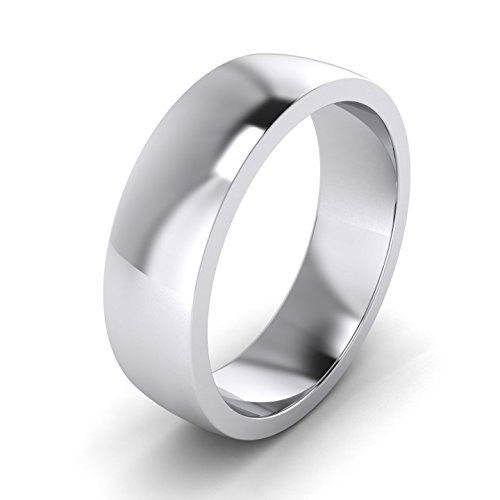 LANDA JEWEL 6mm Heavy Sterling Silver Comfort Fit Polished Mens Wedding Ring Plain Band (12) ()