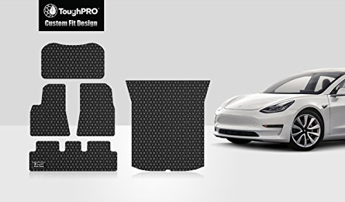 ToughPRO Tesla Model 3 Floor Mats Set and Frunk &Trunk Mat Set - All Weather - Heavy Duty - Black Rubber -(2017-2018) Mat Model