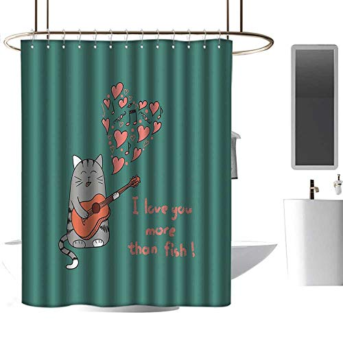 (Easter Shower Curtains for Bathroom Fabric I Love You More,Cat with Guitar More Than Fish Song Music Notes and Valentines Hearts,Multicolor,W48 x L72,Shower Curtain for Shower)