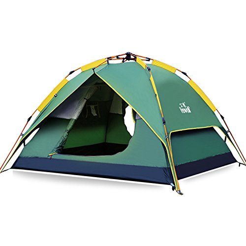 Hewolf Camping Tent 3-4 Person [Instant Tent] Waterproof [Pop up] [Quick Setup] 3 Season Family Beach Tent UV Protection with Carry Bag