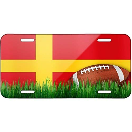 WERRT Football with Flag Alsace (Alsace) Region France Metal License Plate 6X12 Inch