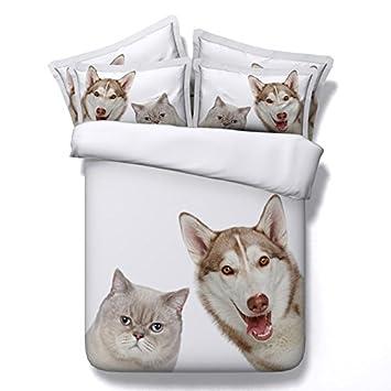 Longwei La Colcha Blanca 3D para Mascotas, Perros y Gatos, Cubre la Ropa de Cama de Tres Piezas. (Color : A, Size : 200×220): Amazon.es: Hogar