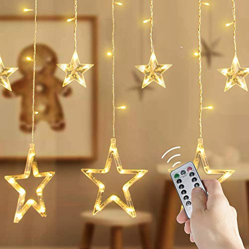 Brightown 138 LED 12 Stars Window Curtain String Lights with Remote and Timer, Connectable 8 Flashing Modes Decoration Lights for Indoor/Outdoor, Christmas, Wedding, Party, Patio Lawn, Warm White