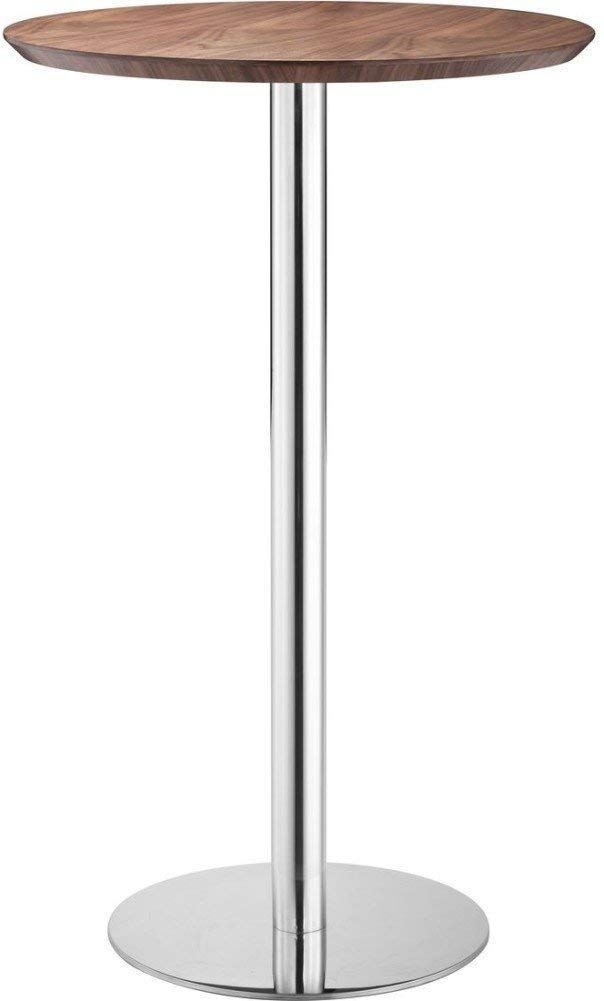 Zuo Modern Bergen Bar Table, Wood Veneer and Chromed Steel, 25.6''W x 41.3''H x 25.6''D Overall Dimensions, Walnut and Chrome Finish by Zuo Modern
