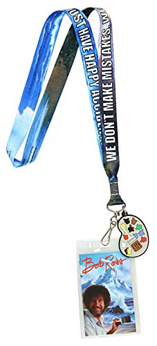 Bob Ross Lanyard Happy Accidents with Painting Charm and ID -