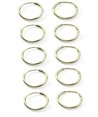 5-Pair Cartilage/Nose/Lips Sterling Silver 925 Small Endless Hoop Earrings 10mm (O: 5 Pair Yellow Toned 10mm Endless)