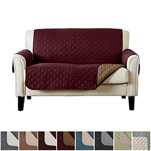 (Home Fashion Designs Deluxe Reversible Quilted Furniture Protector. Perfect for Families with Pets and Kids. (Loveseat - Burgundy/Taupe))