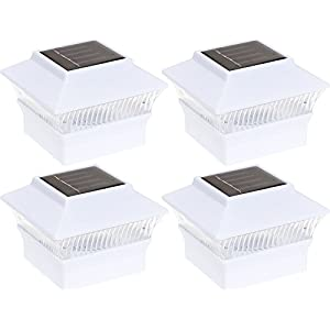 4 Pack Solar Power Square Outdoor Post Cap Lights for 4x4 PVC Posts by GreenLighting (White)