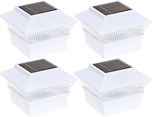 GreenLighting 4 Pack Solar Power Square Outdoor Post Cap Lights for 4x4 PVC Posts (White)