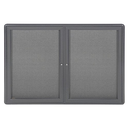 36''x60'' 2-Door Ovation Bulletin Board, Gray Fabric, Gray Frame by Ghent