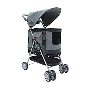 YD Pet Travel Carrier Multifunctional Pet Trolley Light Fold Four-wheeled Pet Stroller Cat Teddy Large Dog Cart Pet… Click on image for further info.