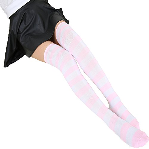 COSPROFE Japanese Women's Over Knee Striped Socks Thigh High Long Casual Tube Cosplay Stockings (Pink+White -