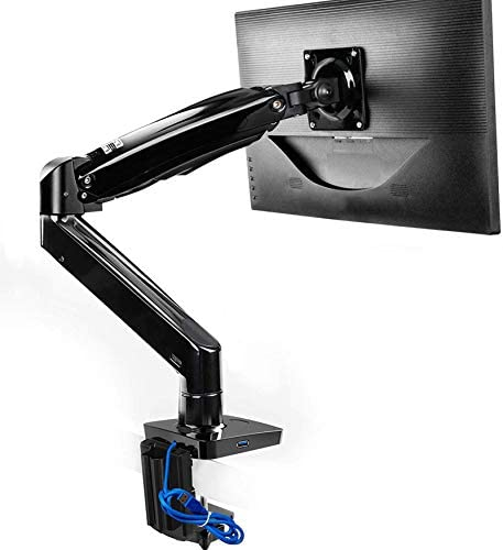 Monitor Mount Stand, Long Single Monitor Desk Mount for 22 to 35 Inch Computer Screens Height Adjustable with Clamp, Grommet Mounting Base, Holds 6.6 to 26.4 pounds