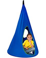 Sorbus Kids Nest Swing Chair Nook - Hanging Seat Hammock for Indoor Outdoor Use - Great for Children, All Accessories Included, 33 Inch (33 Inch, Nest Blue)