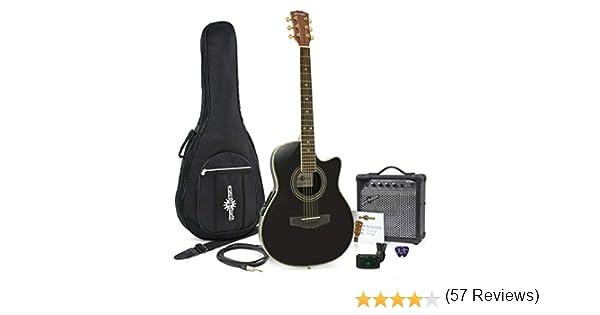 Set de Guitarra Electroacustica Roundback Negra y Ampli de 15 W ...