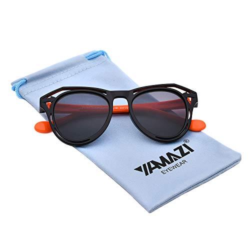 YAMAZI Kids Polarized Sunglasses Sports Fashion For Boys Girls Toddler Baby And Children (Black&Orange, Gray)]()