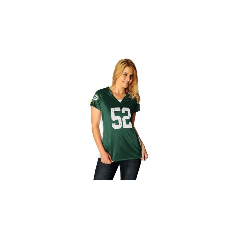NFL Womens Green Bay Packers Clay Matthews Draft Him Ii Dk Green/White/Yellow Gold Short Sleeve Raglan V Neck Tee (Dk Green/White/Yellow Gold, X Large)