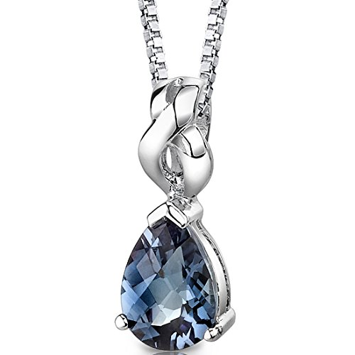 Simulated Alexandrite Pendant Necklace Sterling Silver Pear Shape