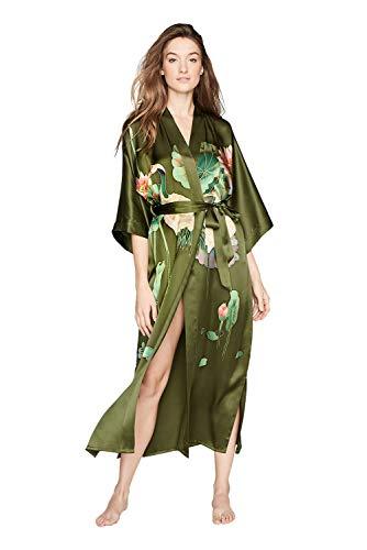 Old Shanghai Women's Silk Kimono Long Robe - Handpainted (Crane - Olive Silk Art Green