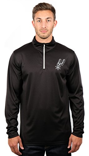 Ultra Game NBA San Antonio Spurs Men's Quarter Zip Pullover Shirt Athletic Quick Dry Tee, X-Large, Black