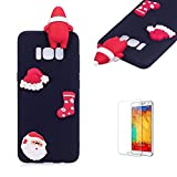 Cute Cartoon Case For Samsung Galaxy S8 Plus,Funyee Stylish 3D Christmas Santa Claus Design Ultra Thin Soft TPU Silicone Case for Samsung Galaxy S8 Plus,Anti-scratch Rubber Durable Shell Smart Phone Case with Free Screen Protector,Black