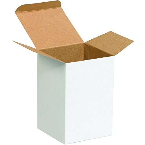 Aviditi RTS26W Reverse Tuck Folding Cartons, 4'' x 4'' x 6'', White (Pack of 250) by Aviditi
