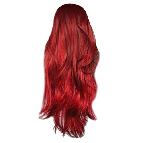 Mysky Fashion Novel No Front Lace Long Curly Wavy Synthetic Wig Red Natural Full Wigs For Women -