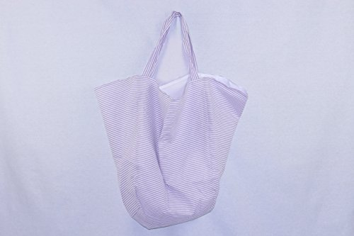 ABP Digital Women?s Everyday Seersucker Handmade Hobo Shoulder Tote Bag, Large, Cotton, Perfect for the Beach, Laundry, Travel, Shopping- Easy to Monogram (Purple) by ABP Digital (Image #2)