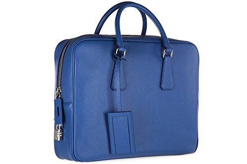 Prada sac porte-documents homme en cuir saffiano travel blu