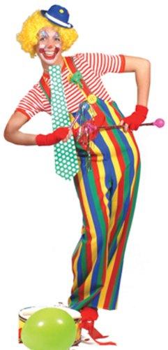 Striped clown overalls adult costume (Striped Clown Overalls Costume)