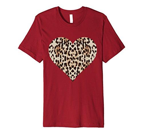 Mens Cheetah Leopard Heart t-shirt Cool Animal Print Love Symbol Medium Cranberry (Cheetah Red)