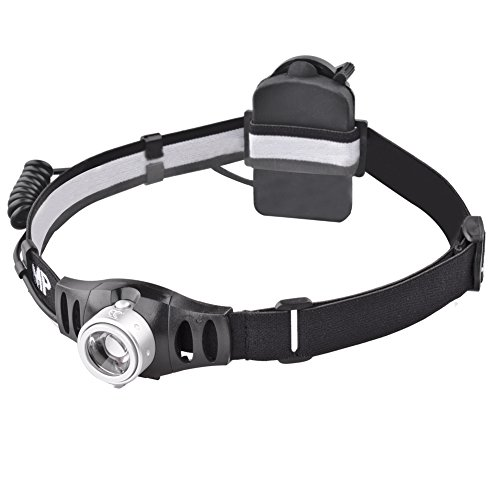 MCCC High Power 420LM LED Headlamp, 90°Angle Adjustable Flashlight, Focus Zoomable System Lens, Brightness Stepless Control, Great for Running, Camping, Hiking and Reading, 3xAAA Batteries Included