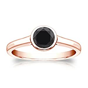 Jewelryhub 14k Rose Gold Plated Bezel Simulated Black Diamond Solitaire Ring 0.75 ct. tw Alloy