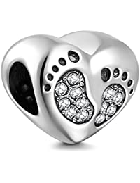 Footprint Heart Charms 925 Sterling Silver Baby Step Love Crystal Charms for 3mm Snake Chain Bracelets