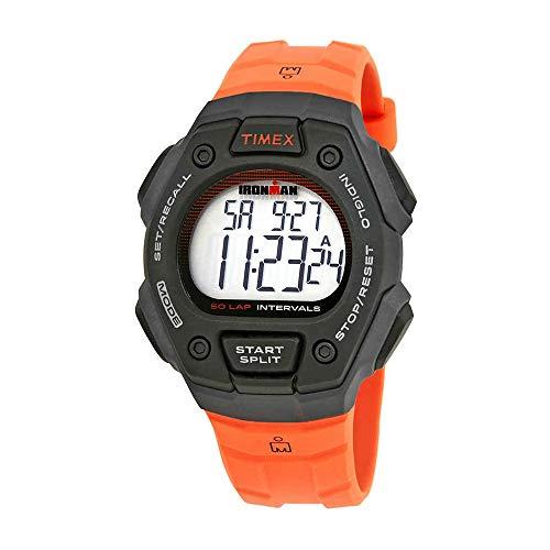 (Timex Unisex TW5K86200 Ironman Classic 50-Lap Full-Size Black/Orange Resin Watch)