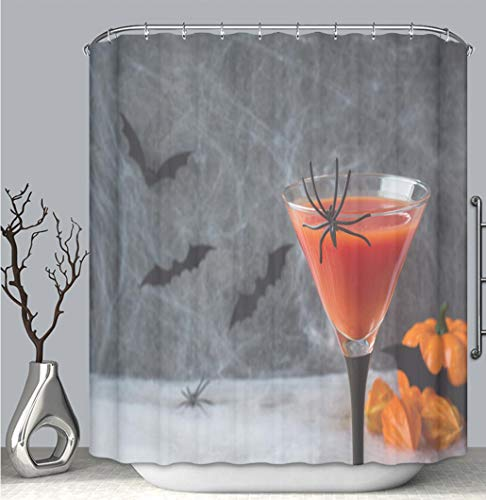 Color Shower Curtain liner anti-mildew antibacterial, Bloody Mary cocktail pumpkin with bats and spiders for Halloween selective multi-color,custom shower curtain Bathtub bathroom -