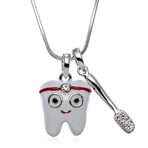 PammyJ Dental Tooth and Toothbrush Pendant Necklace, 17.5