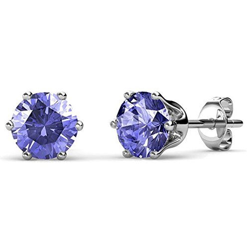 Cate & Chloe February Birthstone Stud Earrings, 18k White Gold Plated Earrings with 1ct Gemstone Swarovski Amethyst Crystals, February Birthstone Jewelry for ()