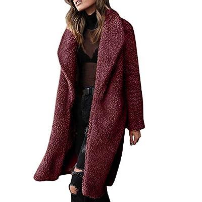 Caopixx Women Outwear Winter Jacket Fuzzy Fleece Lapel Open Front Long Cardigan Coat Faux Fur Warm Overcoat