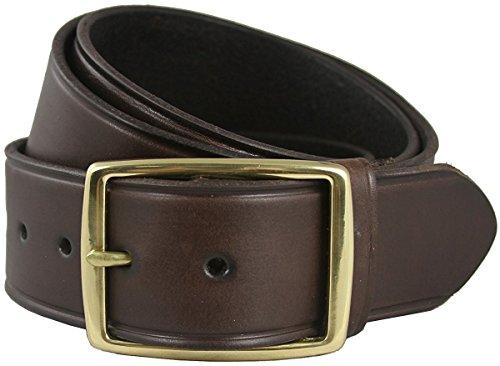 Hagora Men Black Brown Solid Leather Groove Edges 1-3/4