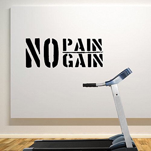 No Pain No Gain wall decal sticker for home and gym Black