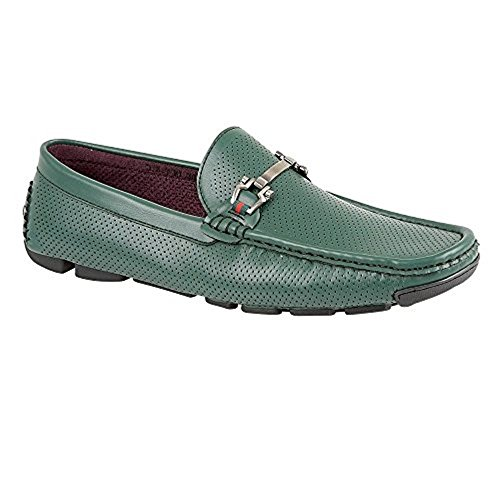 NEW MENS CASUAL DESIGNER INSPIRED LOAFERS MOCCASINS SLIP-ON SHOES Green Goyd2Tou