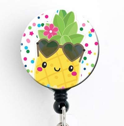 Pineapple Kawaii Super Cute - Retractable Badge Reel with Swivel Clip and Extra-Long 34 inch Cord - Badge Holder