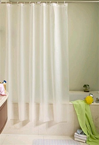 Ufelicity Home Decor Eco-friendly PEVA Shower Curtain Anti-Bacterial and Water/Soap Resistant with Rings, Solid White, 60 Inch By 72 - Plastic Curtain Transparent